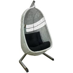 1970s Hanging Wicker Lounge Chair
