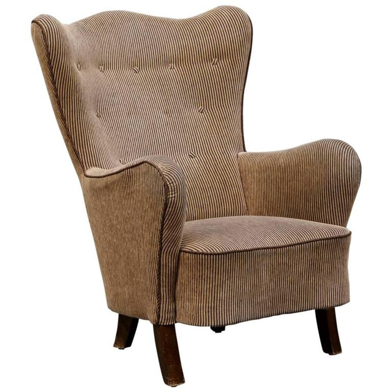 Danish Modern Wingback Armchair For Sale at 1stdibs