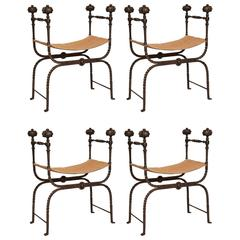 Remarkable Set of Four Italian Iron Baroque Benches