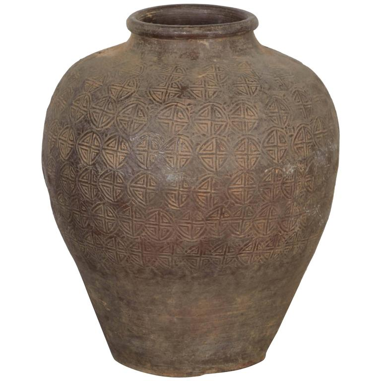Antique Embossed Ceramic Jar