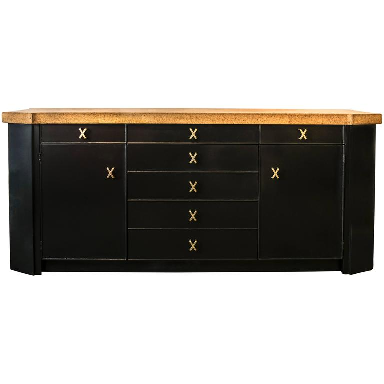 Paul Frankl Ebonized Cork-Top Credenza Buffet with Exquisite Brass Hardware