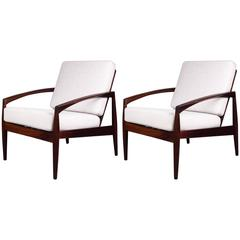 Pair of Kai Kristiansen Rosewood Paper Knife Lounge Chairs