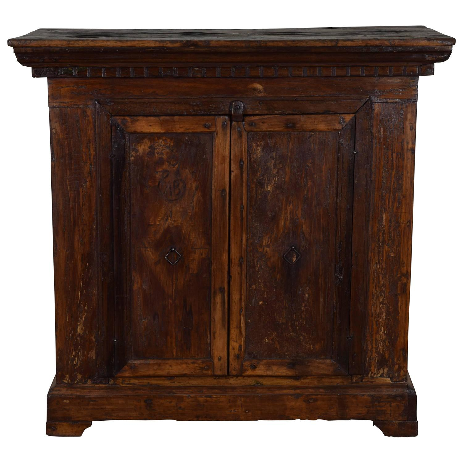 Rustic Italian Baroque Two Door Work Cabinet Credenza