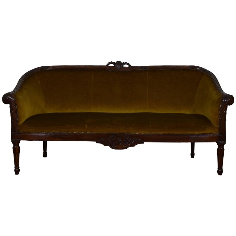 Italian Late 18th Century Carved Walnut and Upholstered Divano Sofa