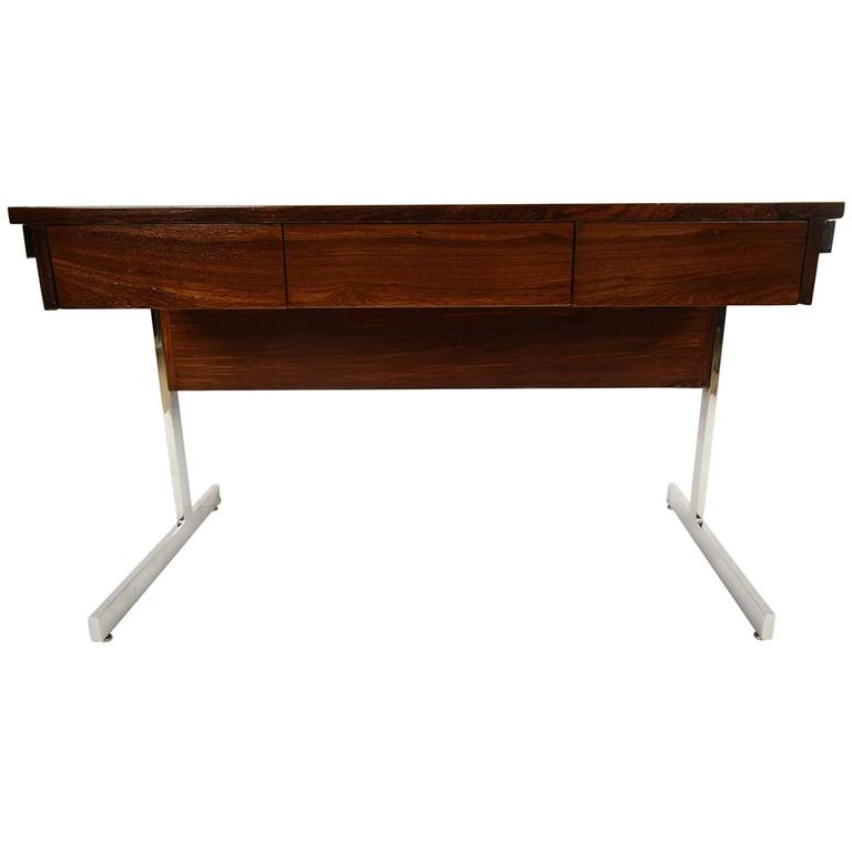 Mid-Century Modern Rosewood and Chrome Compartment Desk