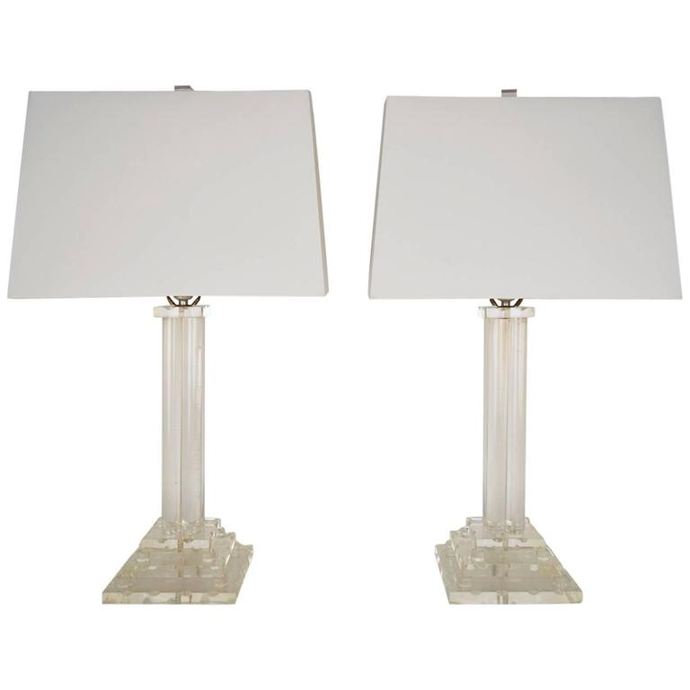 Pair Of Vintage Lucite Table Lamps