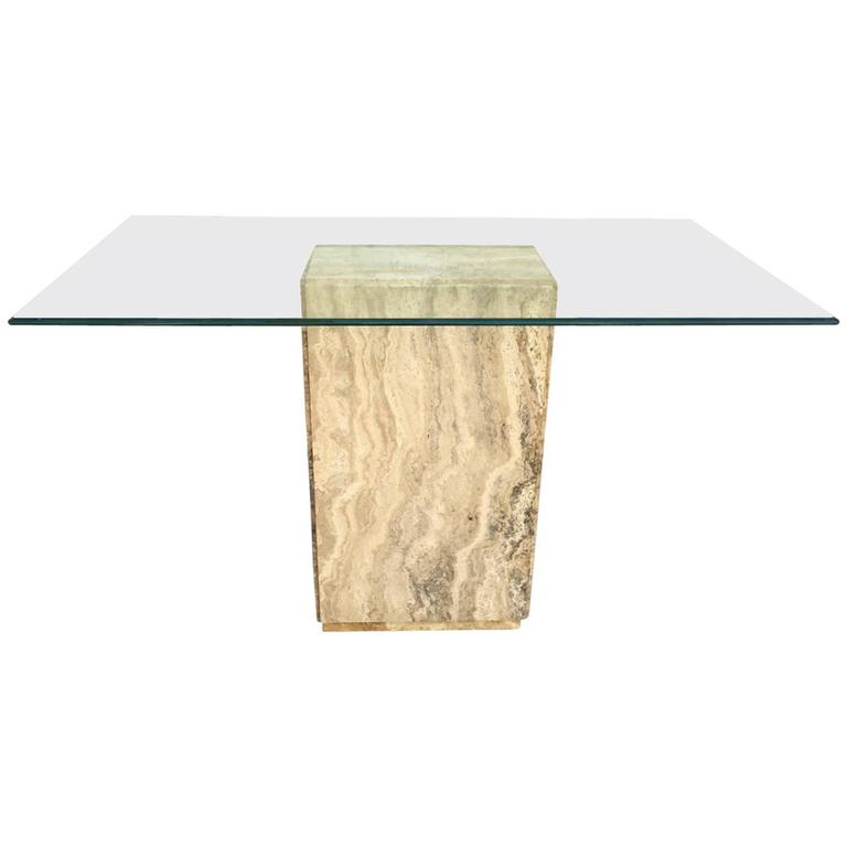 Travertine Console Table with Glass Top
