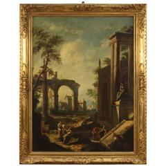 20th Century Italian Painting Depicting Ruins with Characters
