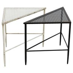 Mathieu Matégot Pair of Metal Coffee Tables Black and White