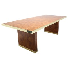 Pierre Cardin signed burlwood and brass extending mid century dining table,1970s