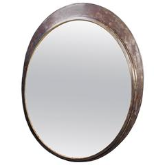 Convex Station Mirror with Polished Steel Surround, 1920s