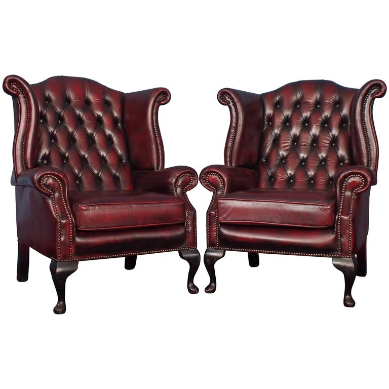 English vintage oxblood leather wingback chesterfield armchairs pair 1970s at 1stdibs
