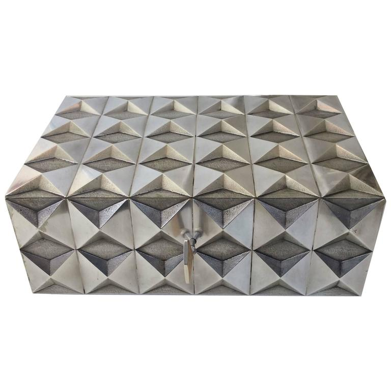Precious Diamond Point Silver Plated Metal Box, 1970s, France