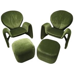 Mid-century Lounge Chairs and Matching Ottomans