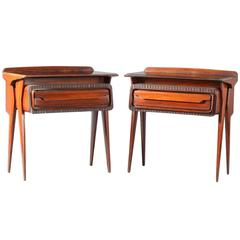Charming Pair of Italian walnut Nightstands Attributed Ico Parisi