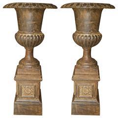 Large Pair of Antique Roman Cast Iron Garden Urns and Pedestals