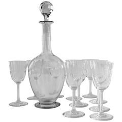 """1910s Baccarat """"Beauharnais"""" Engraved Crystal Wine Decanter and Glasses Set"""