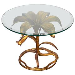 Mid-Century Lily Form Gilt Metal Table by Arthur Court