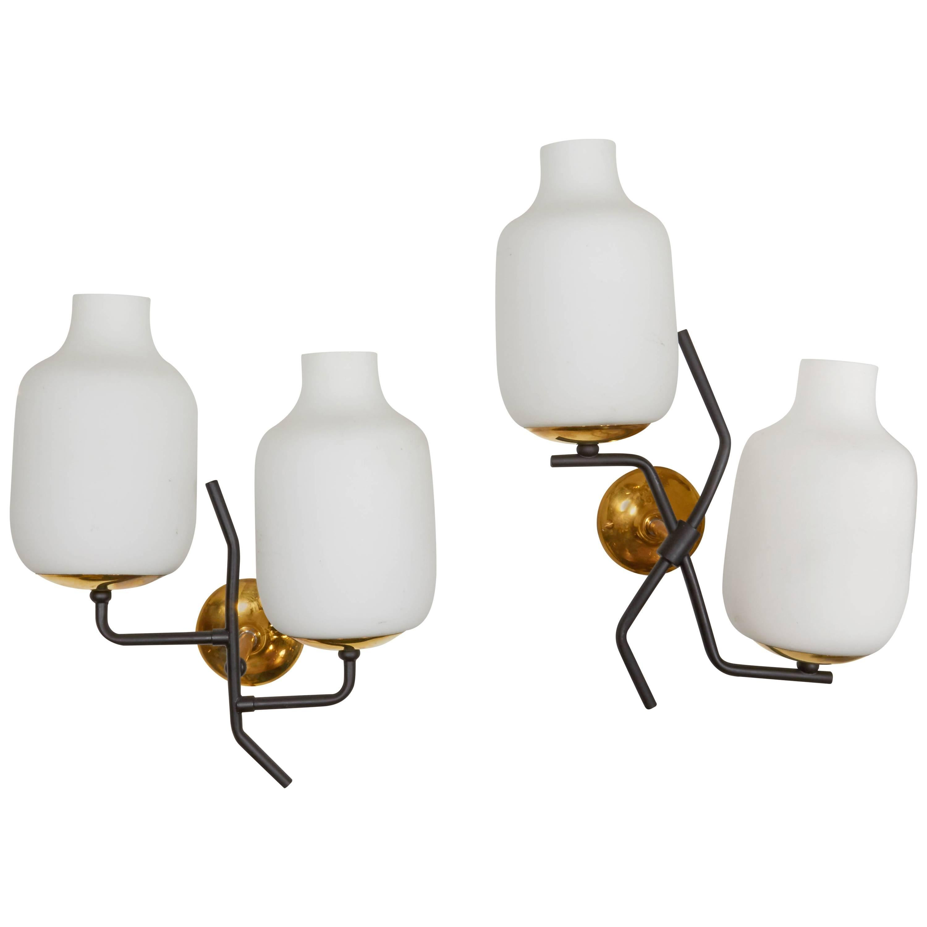 Pair of Stilnovo Branched Wall Sconces