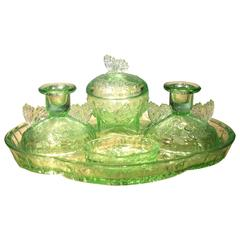 Vintage Green Pressed Glass Butterfly Dressing Table Set