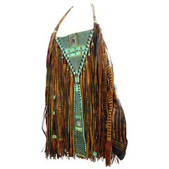 Vintage Hippie Fringe Leather Handbag from Tuareg, Nigeria
