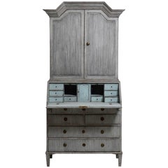 Gustavian Two Part Painted Secretaire, 18th Century