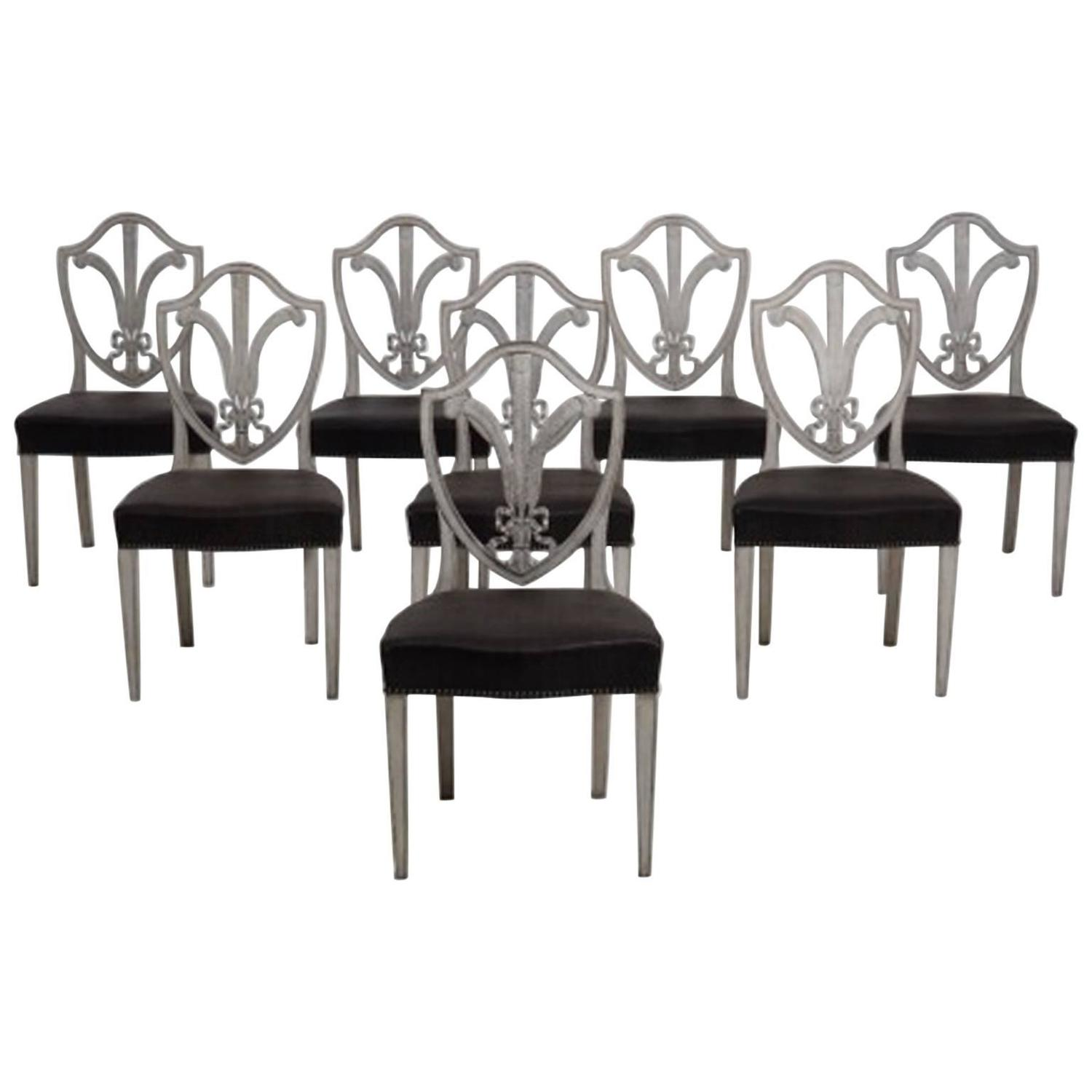 19th century eight swedish gustavian style dining chairs for Swedish style dining chairs