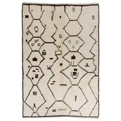 Mid-Century Design Moroccan Rug Made of Natural Undyed Wool