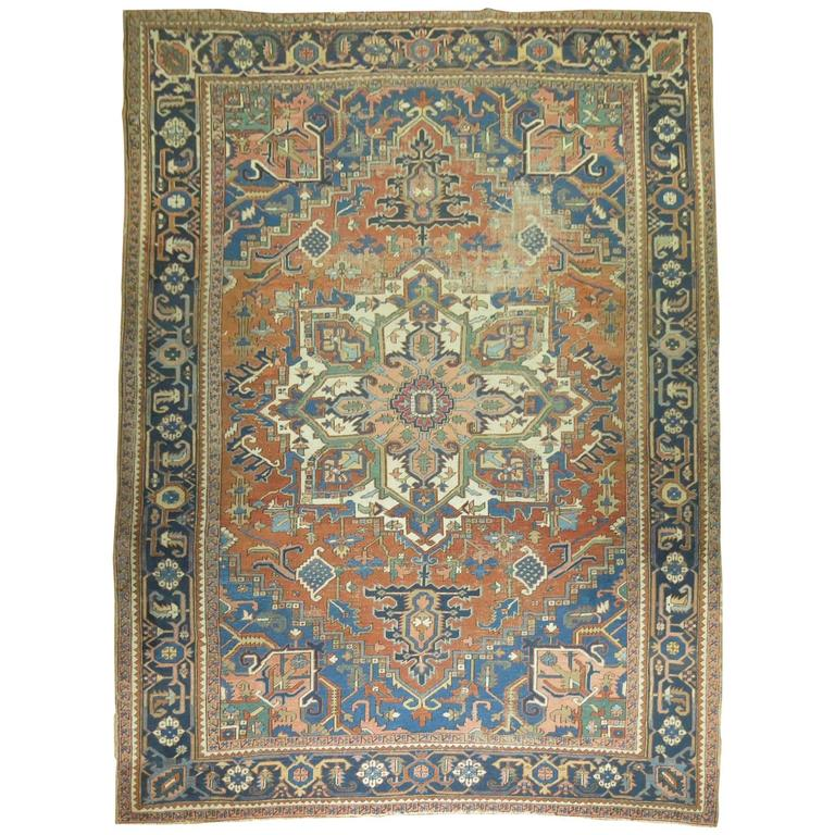Pasargad Ny Persian Hand Knotted Wool Light Blue Ivory: Shabby Chic Antique Persian Serapi Style Heriz Carpet For