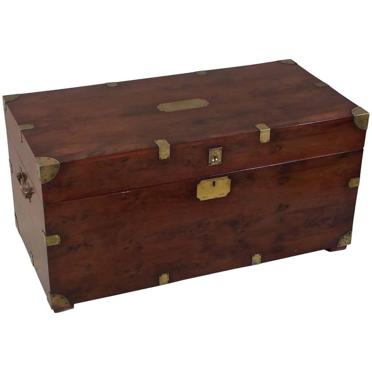 Military Wood Furniture ~ Mid th century brass bound yew wood military trunk at