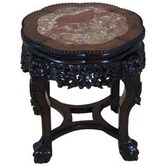 Chinese 19th Century Carved Hardwood Stand