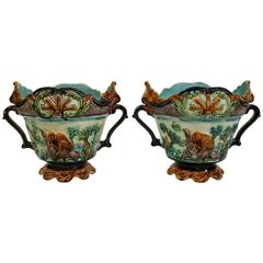 Pair of 19th Century French Barbotine Cache Pots with Monkeys and Tigers