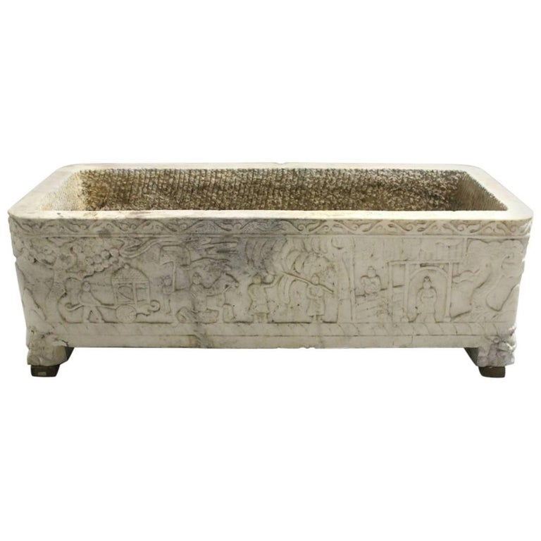 Continental Carved Marble Planter, 18th Century or Earlier For Sale