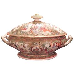 Large Mid-19th Century Chinese Export Rose Medallion Covered Tureen