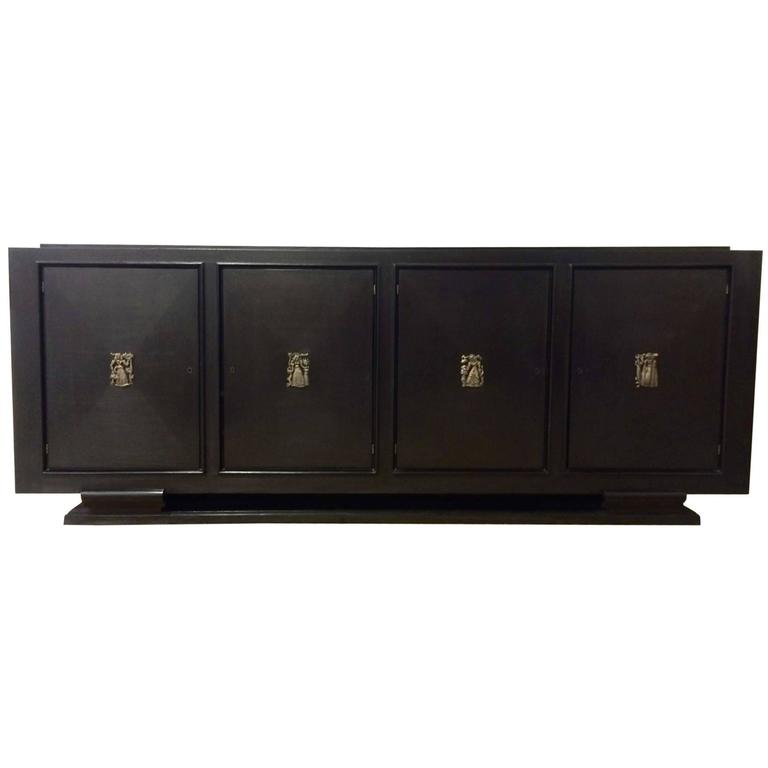 1940s French Ebonized and Bronze Buffet in the Manner of Jacques Adnet