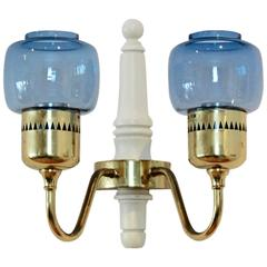 Hans Agne Jakobsson Brass Wall Sconce Model T-526 for Markaryd, Sweden
