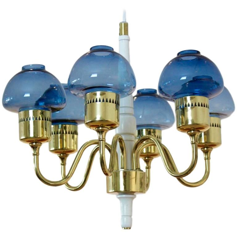 Hans Agne Jakobsson Brass Chandelier Model T-526 for Markaryd, Sweden