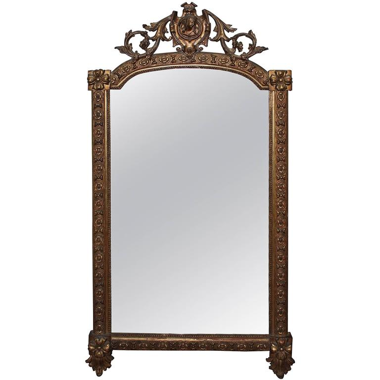 19th Century French Gilded Mirror with Cartouche