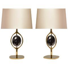 Pair of Modern Smoky Brown Rock Crystal Lamps