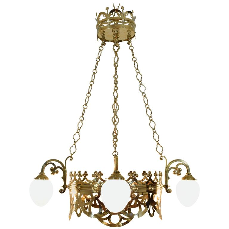 Italian Cast Brass Hanging Fixture with Four Glass Shades