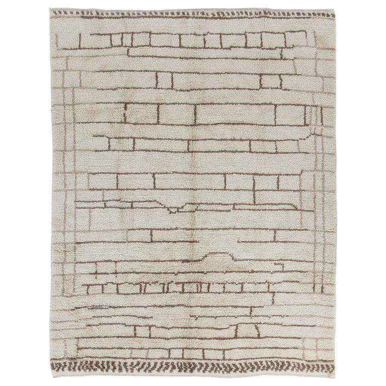 Moroccan Rug Made of Natural Undyed Wool