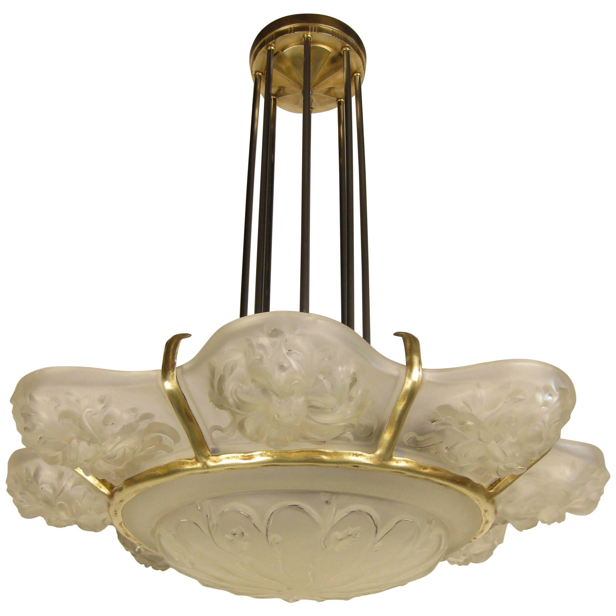 Pair of French Art Deco Chandelier signed Marius-Ernest Sabino