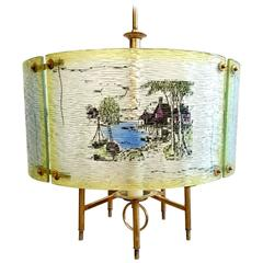 Ceiling Lamp with Printed Glass Panels, 1950s