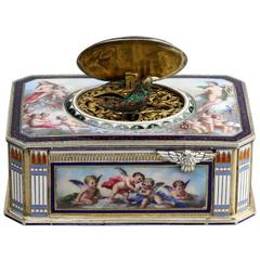 Vintage Silver and Full Pictorial Enamel Singing Bird Box by Karl Griesbaum