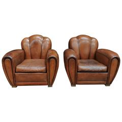 Pair of French Art Deco Large Leather Club Chairs