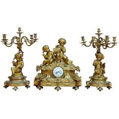 19th Century Large Gilt Bronze Three-Piece Clock Set with Musician Cherubs