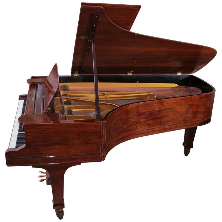 Steinway And Sons C Grand Piano Glossy Rosewood French Polish Mahogany Bench At 1stdibs