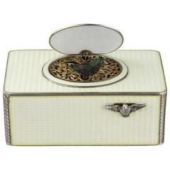 Vintage Silver and Full Cream Guilloche Enamel Singing Bird Box
