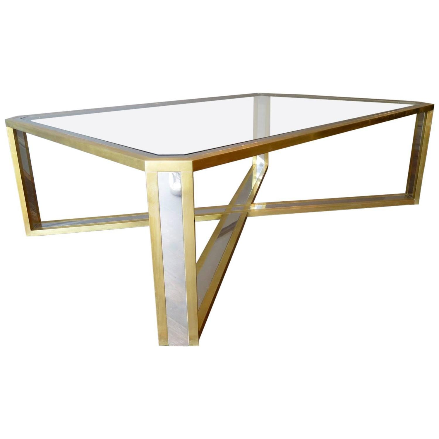 Brass And Chrome Italian Coffee Table At 1stdibs