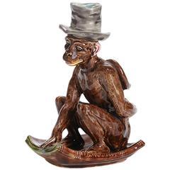 Sarreguemines Majolica Darwin Monkey Candlestick, 19th Century